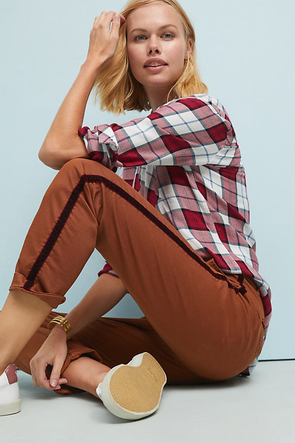 Relaxed-Striped Chino Trousers - Gold, Size 26 Petite