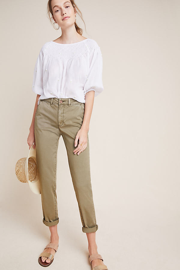 Relaxed Chino Trousers - Green, Size 29