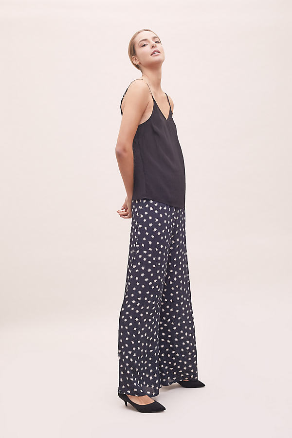 Cosmos-Print Wide-Leg Trousers - Black, Size S