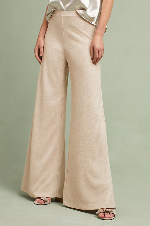 Tavi Ribbed Shimmer Wide-Leg Trousers - Sand, Size M