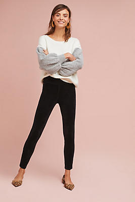 Slide View: 1: Ribbed Velvet Leggings