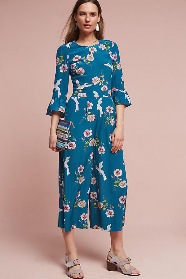 Lucie Silk Jumpsuit, Blue - Green, Size 14