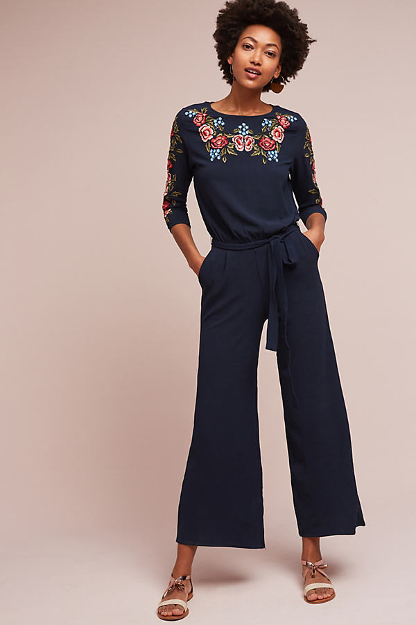 Alyse Embroidered Jumpsuit, Navy - Navy, Size Xl