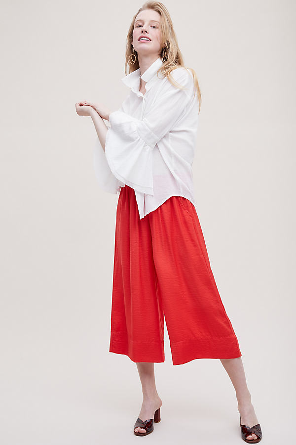 Turan Cropped Wide-Leg Culottes - Red, Size Xl