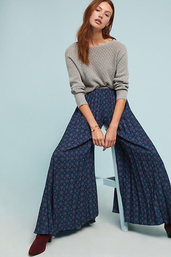 Pleated Floral Trousers - Blue, Size L