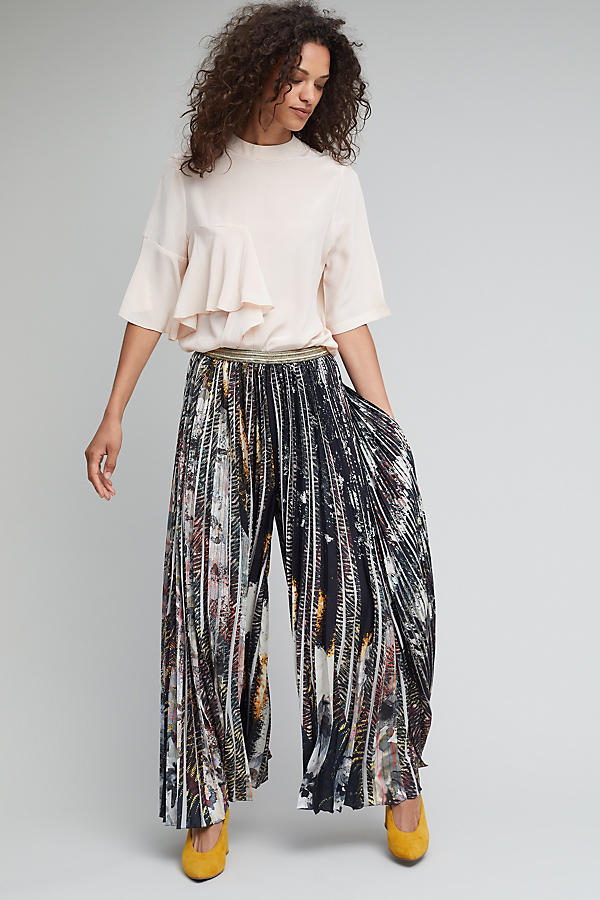 Slide View: 1: Holland Pleated Trousers, Metallic