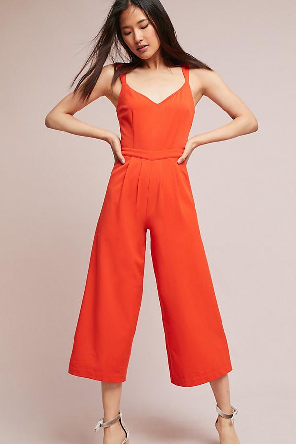 Mia Sleeveless Jumpsuit - Coral, Size Uk 10