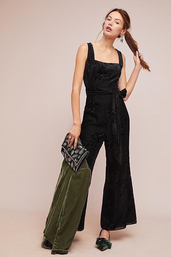 Cortney Burnout Jumpsuit - Black, Size Uk 10