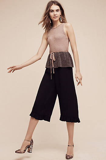 Ruffled Wide-Leg Crops