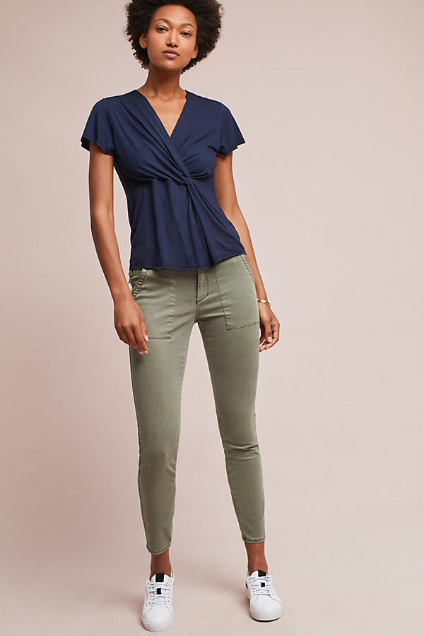 Keilah Slim Utility Cargo Trousers - Moss, Size 28