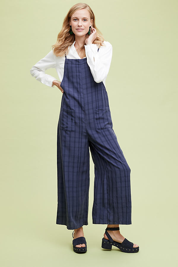 Naomi Checked Dungarees - Blue, Size Uk 16