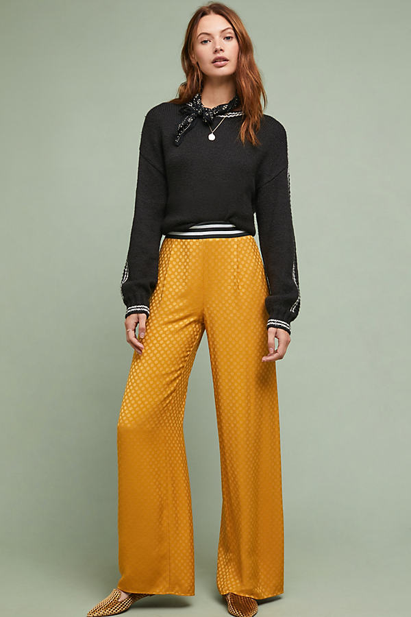 Sporty Wide-Leg Trousers - Yellow, Size Uk 10