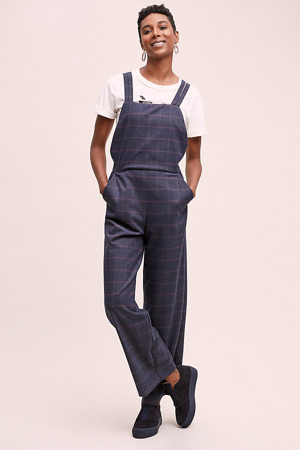 Checked Wide-Leg Dungarees - Assorted, Size Uk 14