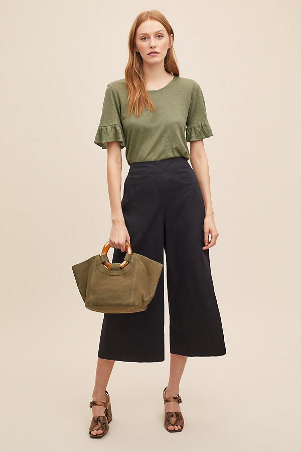 Cropped Wide-Leg Trousers - Black, Size Uk 8