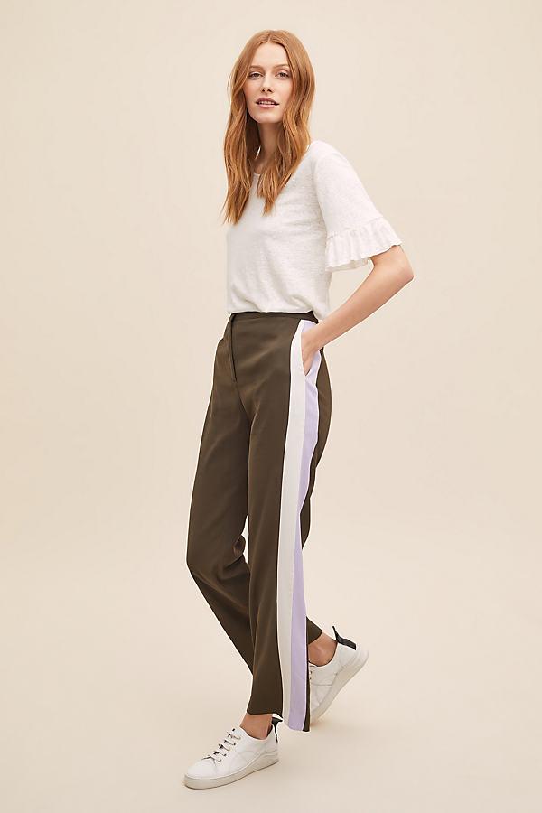 Alice Striped Track Trousers - Khaki, Size Uk 6
