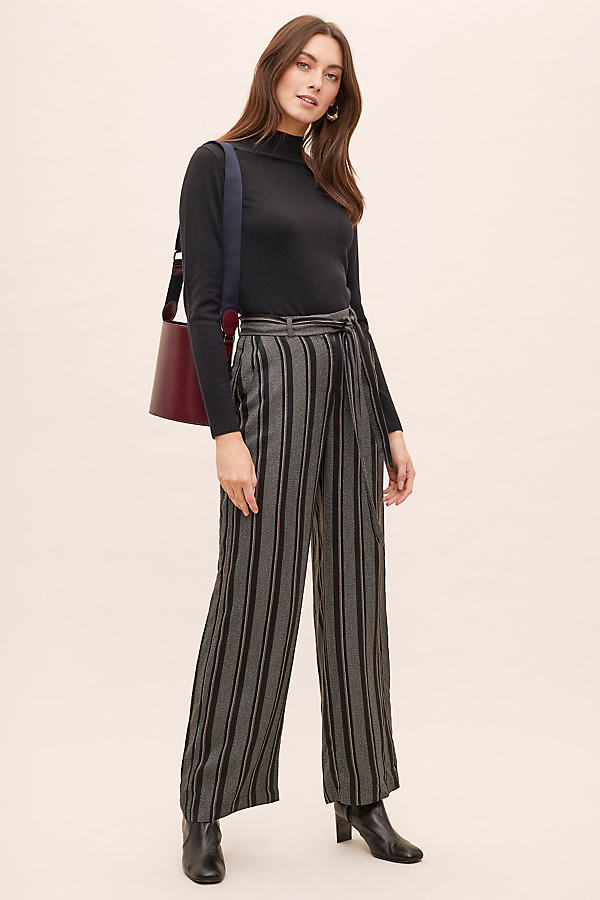 Lucille Striped Paperbag-Waist Trousers - Assorted, Size Uk 12