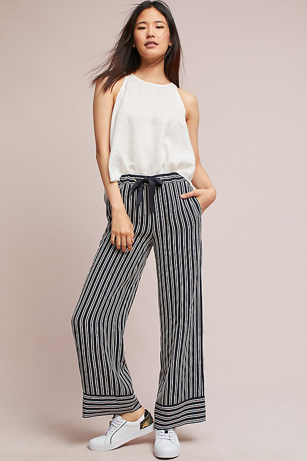 Deb Woven Striped Wide-Leg Trousers - Black & White, Size Uk 16