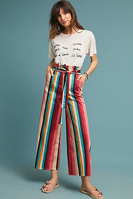 Slide View: 1: Striped Paperbag-Waisted Trousers