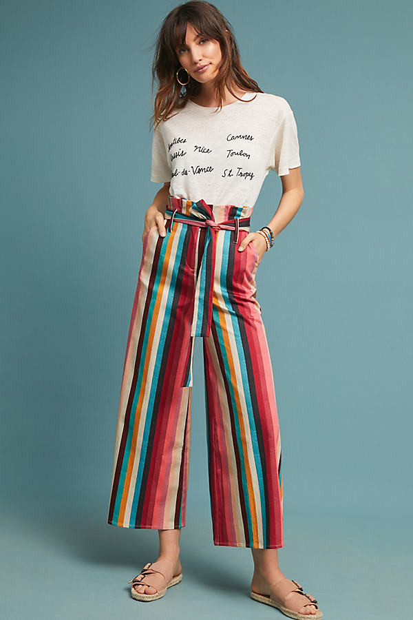 Amary Striped Paperbag-Waisted Trousers - Assorted, Size Uk 16