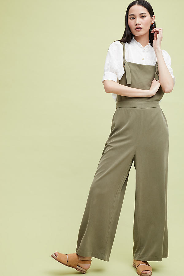 Petrie Cropped Wide-Leg Dungarees - Green, Size Uk 16