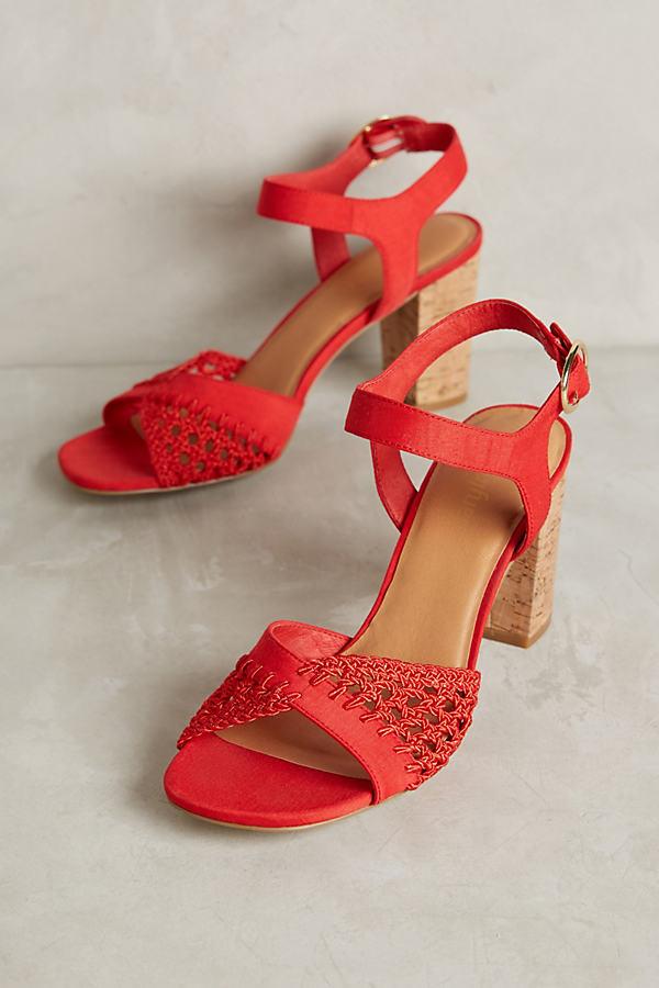 Novia Crochet Heels - Red, Size 8.