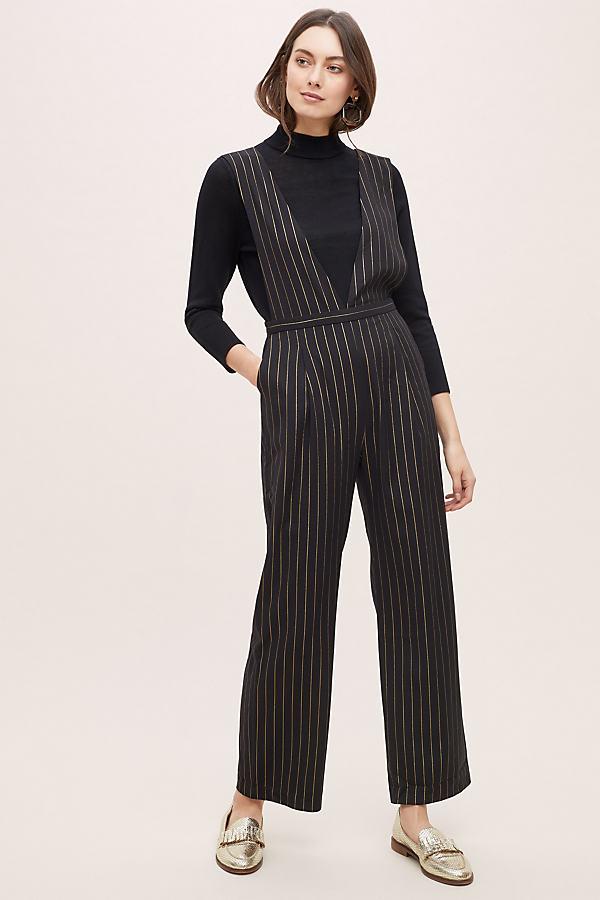 Moira Pinstriped Wide-Leg Jumpsuit - Black, Size Uk 10