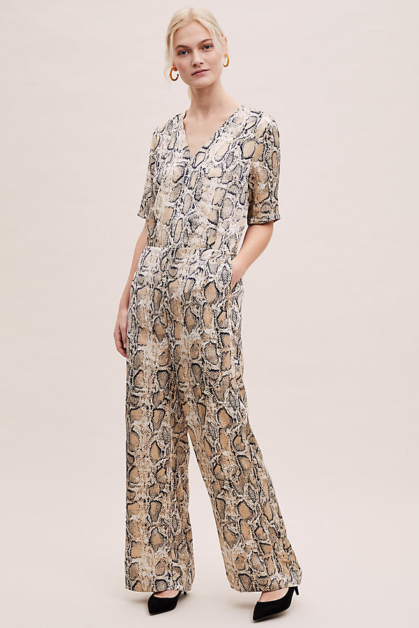 Selected Femme Snake-Print Wide-Leg Jumpsuit - Assorted, Size Uk 8