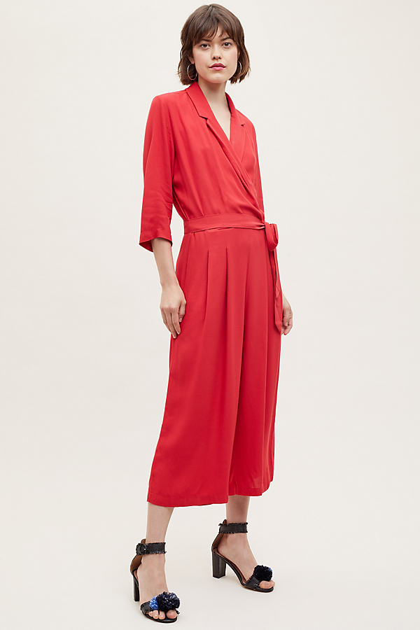 Selected Femme Rianne Wrap Jumpsuit - Red, Size Uk 14