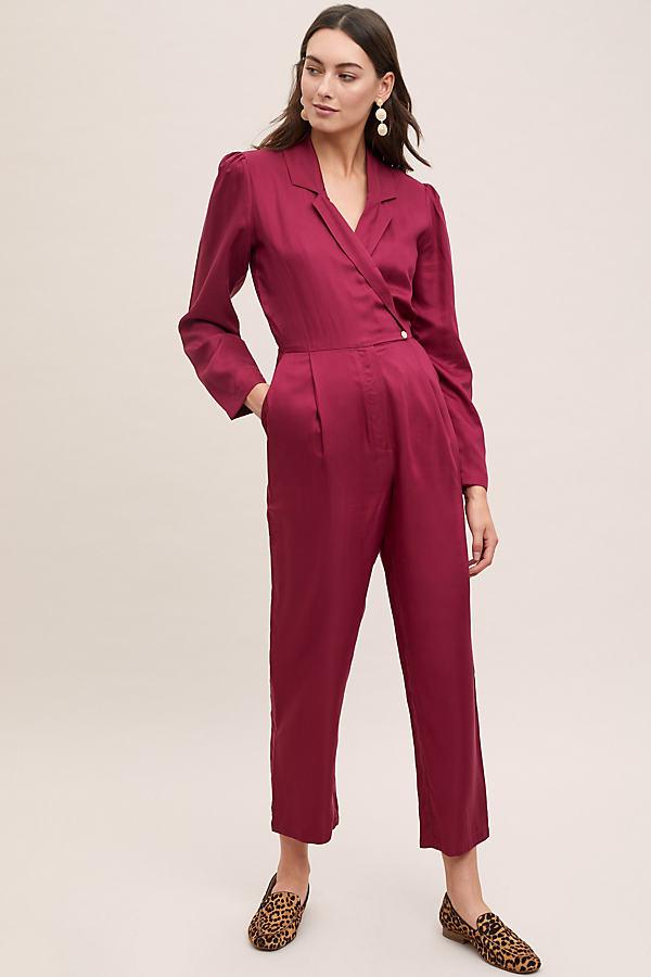 Selected Femme Femina Wrap Jumpsuit - Red, Size Uk 12