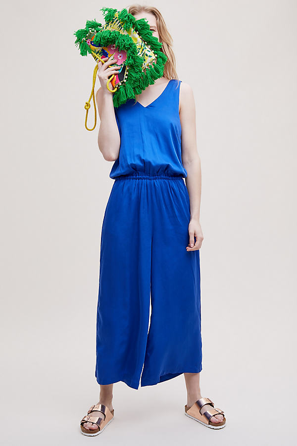 Selected Femme Gramma Cropped Wide-Leg Jumpsuit - Blue, Size Uk 10