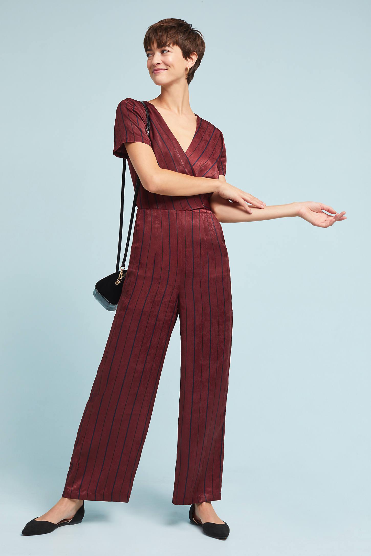 Burgundy Striped Jumpsuit
