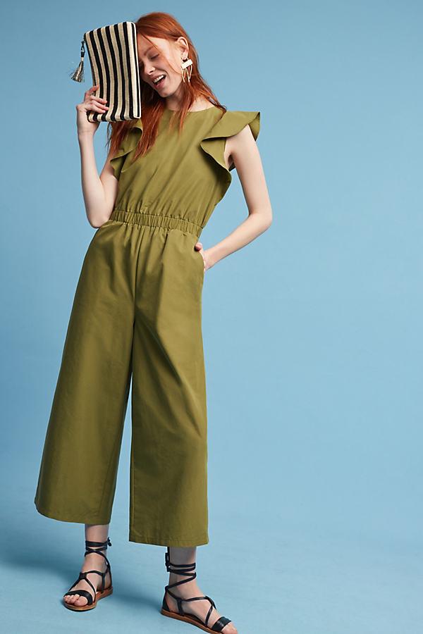 Allegra Wide-Leg Jumpsuit, Khaki - Green, Size S