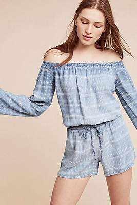 Slide View: 1: Striped Chambray Off-The-Shoulder Romper