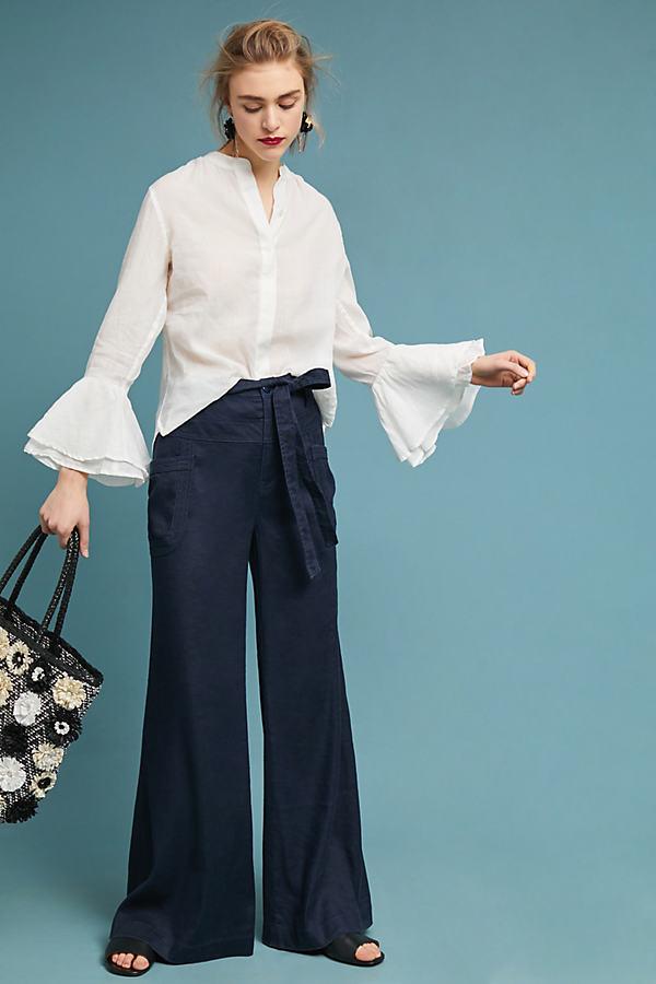 Tie-Waist Linen Wide Leg Trousers - Blue, Size 25