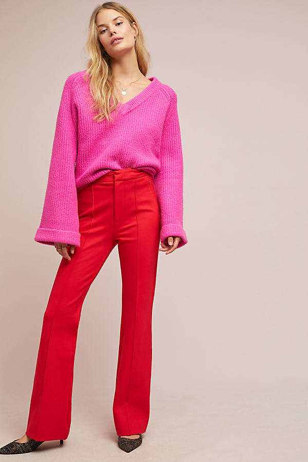 The Essential Pintucked Trousers - Red, Size Uk 6