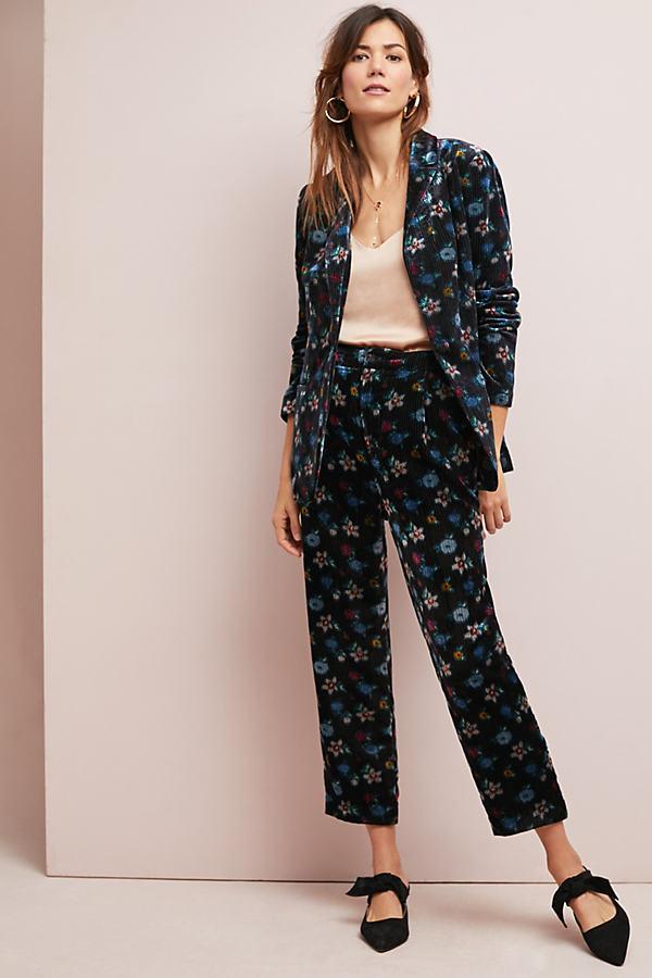 Floral-Print Velvet Corduroy Trousers - Assorted, Size Xl