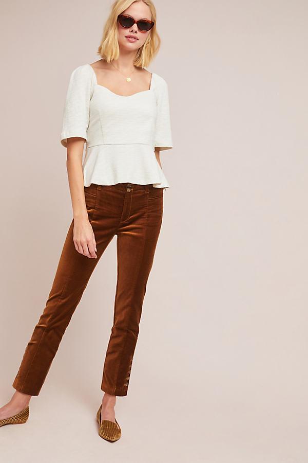 The Essential Velvet Slim Trousers - Yellow, Size Uk 10