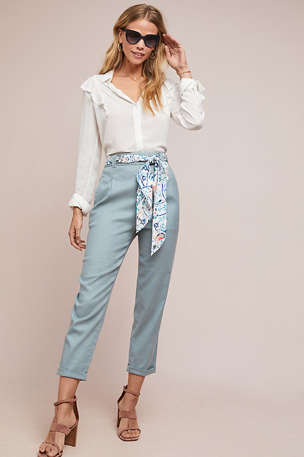 Nias Belted Trousers - Blue, Size Uk 10