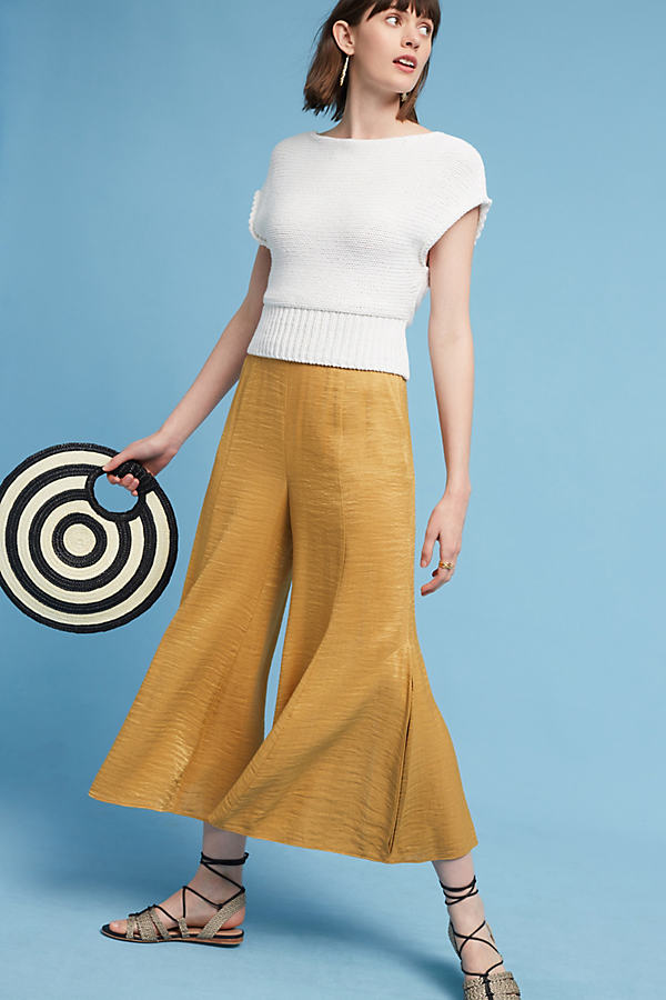 Anguilla Cropped Wide-Leg Trousers, Yellow - Gold, Size 16