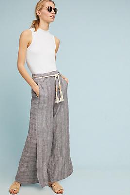 Slide View: 1: Striped Linen Wide-Leg Pants
