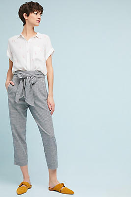 Slide View: 1: Tie-Waist Gingham Trousers