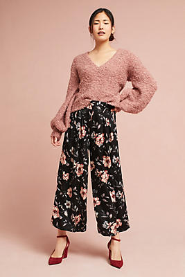 Slide View: 1: Marta Floral Cropped Wide-Legs