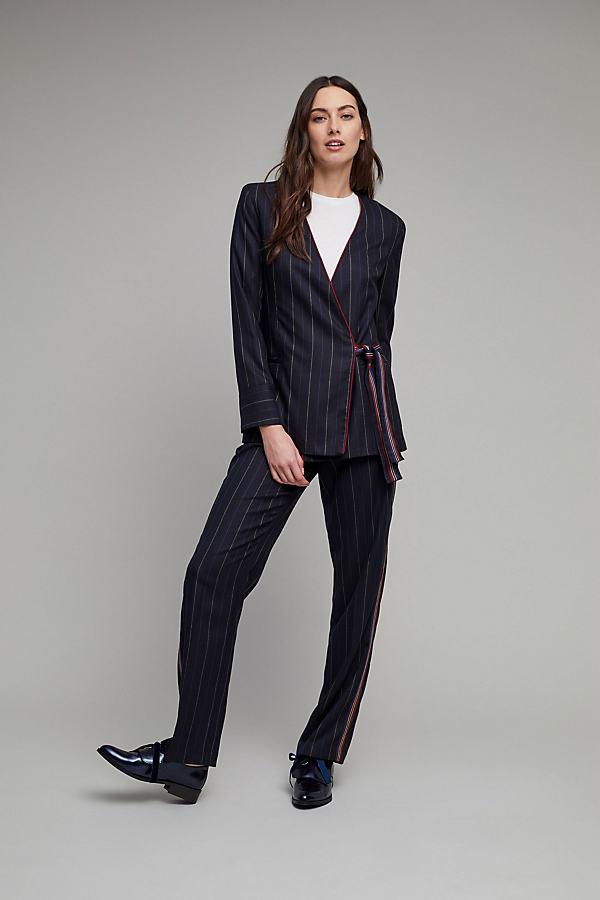 Laverne Pinstripe Co-ord Trousers, Black - Black, Size L