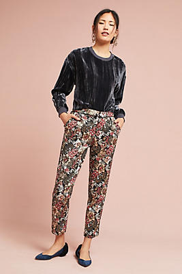 Slide View: 1: Jacquard Metallic Slim Trousers