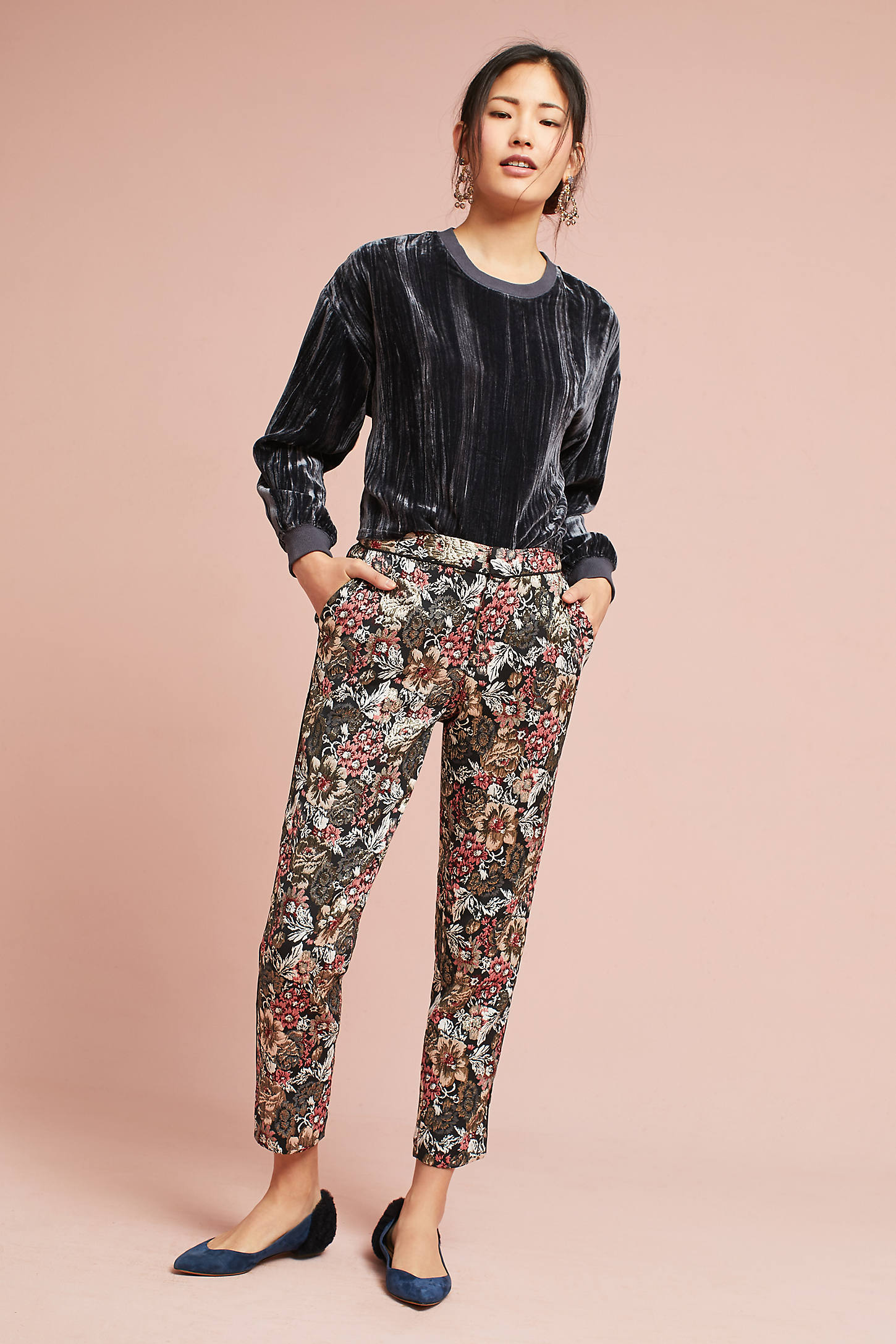 Jacquard Metallic Slim Trousers