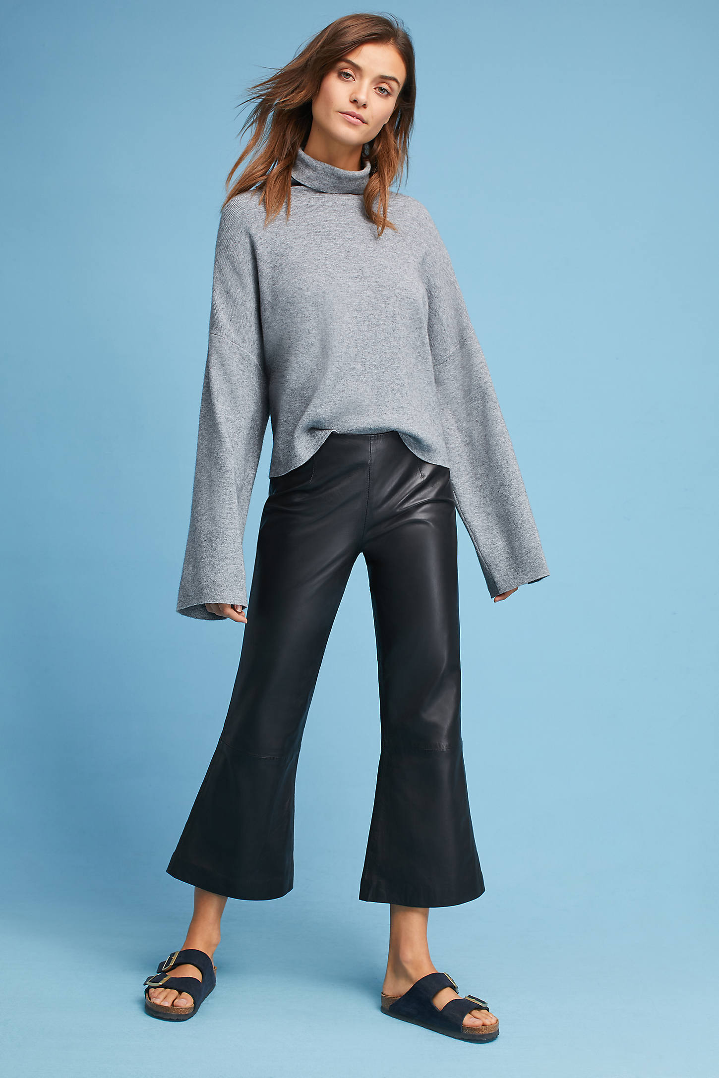 Zeus Cropped Leather Flares