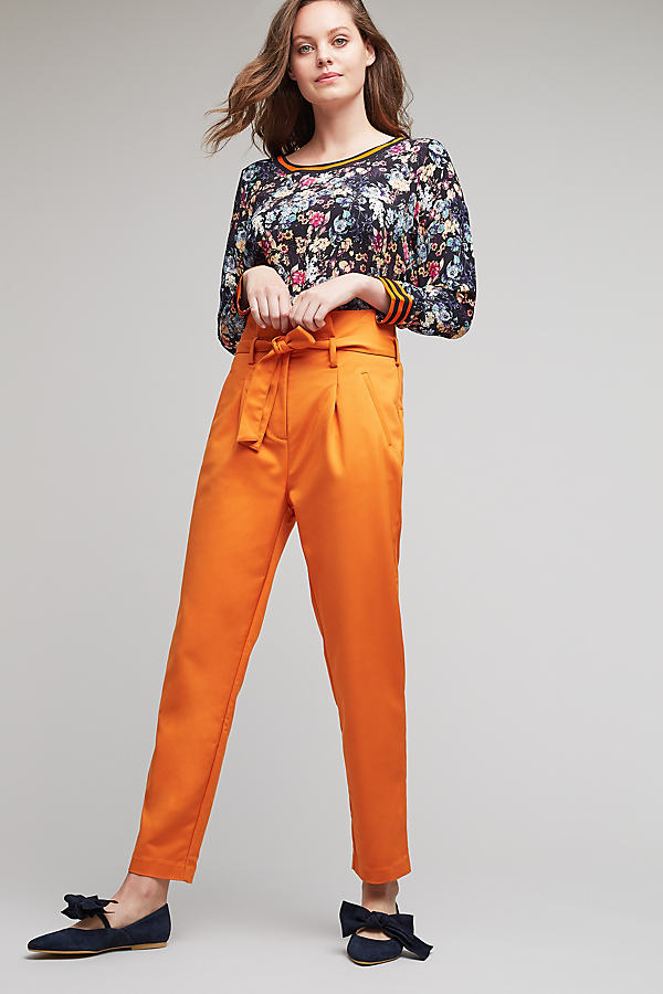 Nashua Paperbag Trousers, Orange - Orange, Size Uk 10