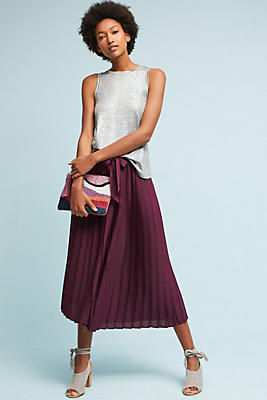Slide View: 1: Pleated Cropped Wide-Legs