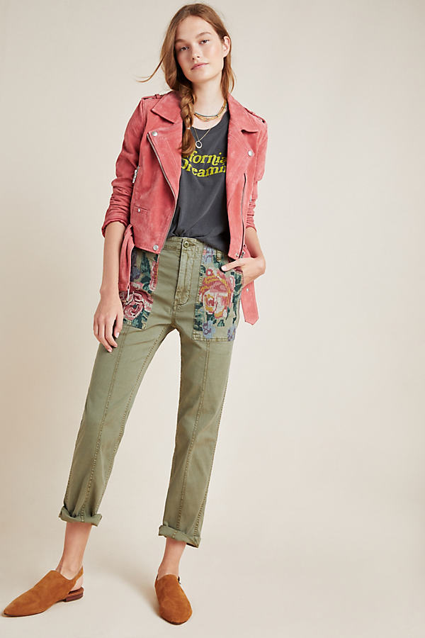 Relaxed Embroidered Trousers - Green, Size 32