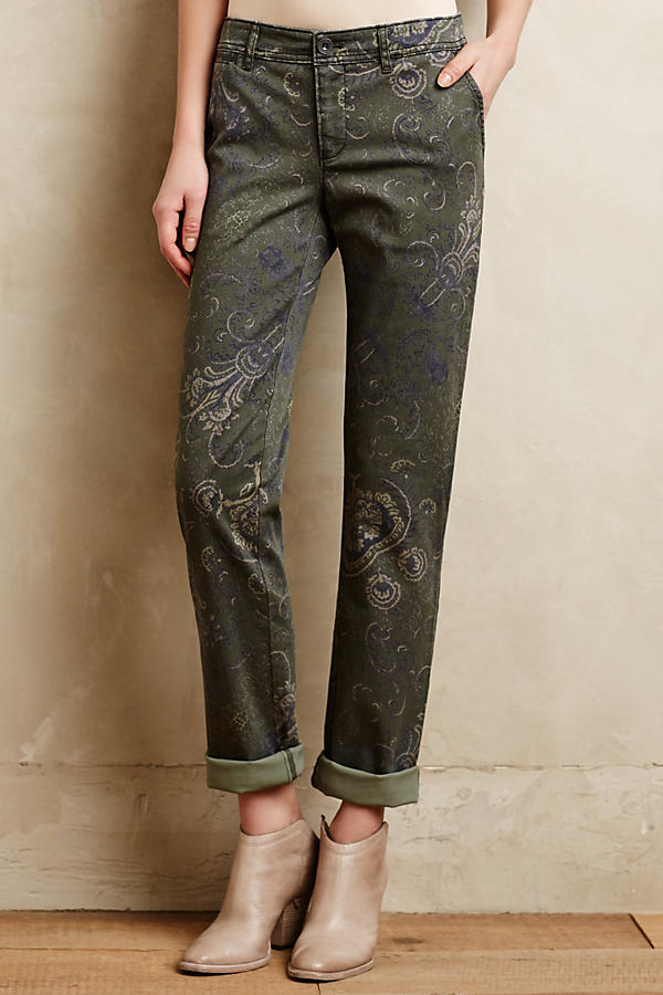 Slide View: 2: Pilcro Hyphen Paisley Chinos